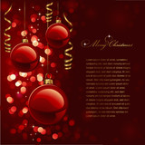 christmas background with red baubles and defocused lights poster