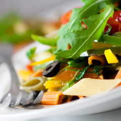 Close up of pasta with vegetables