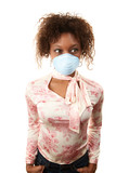 Woman with breathing mask poster