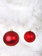 Red christmas balls on tree
