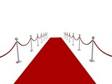 Red carpet rolled into distance poster