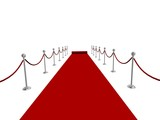 Red carpet rolling into distance poster