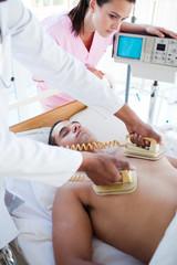 Medical team resuscitating a patient