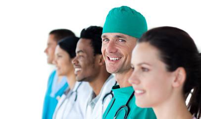 A diverse medical team standing together