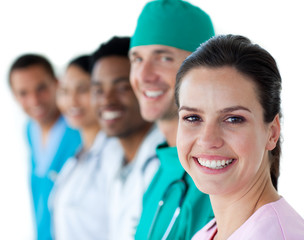 Multi-ethnic medical team smiling at the camera