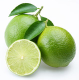 Lime with section on a white background-