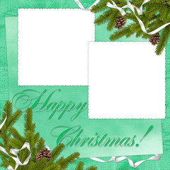 White frame with branches and ribbon on the green background