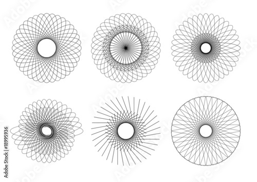 vector drawing of six different geometric shapes