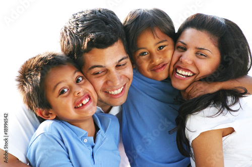 Faces of Happy Family Laughing