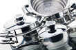 canvas print picture - A set of saucepans, stainless steel