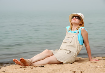girl relaxing on sea beach