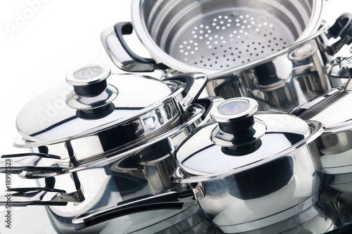 canvas print picture A set of saucepans, stainless steel