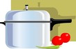 Illustration of pressure cooker and vegetables