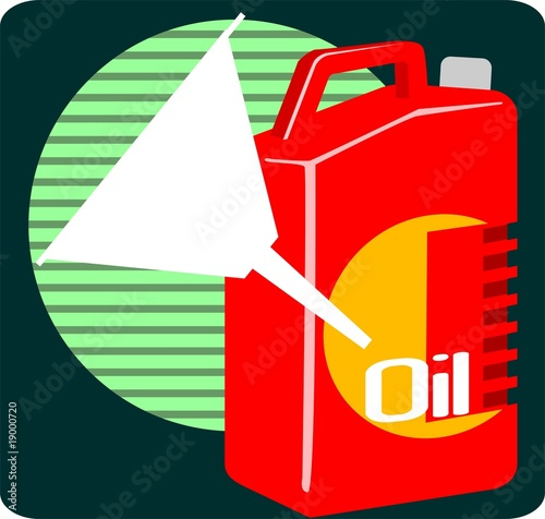 red colour lubricant  oil container and funnel
