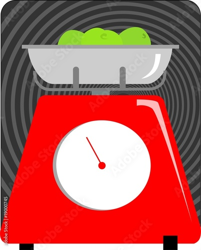 Illustration of a kitchen weighing machine