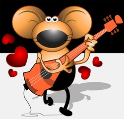 Illustration of a musician mice with guitar