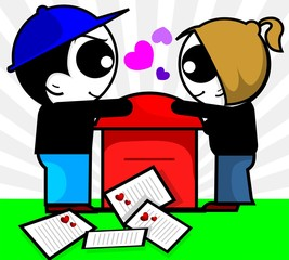 boy and girl near mail envelopes with love symbol