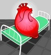 Illustration of heart in hospital bed