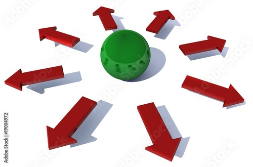 Grüne Kugel rote Pfeile Kraft