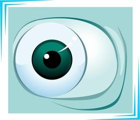 Illustration of eyeball in green background