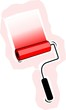 Illustration of a painting roller in red background