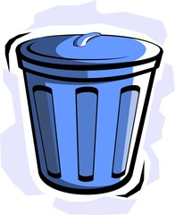 Illustration of blue bucket in colour
