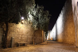 An alley in the old city of Jerusalem at night, Israel. - 19008737