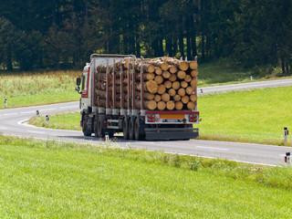 Transport von Holzstämmen auf einem Lastwagen