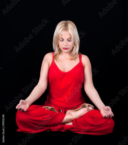Business woman has meditation at lunch break