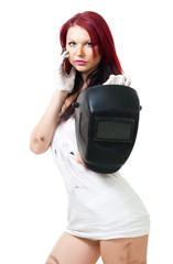 woman stand and hold welding mask