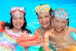 Happy children with snorkels
