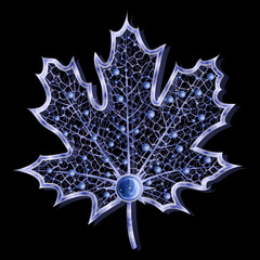 Blue sparkling jewel leaf isolated