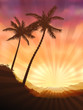 Vector image of two palms at sunset