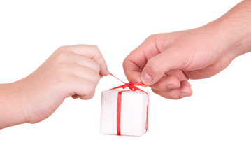Two hands hold  box with  gift
