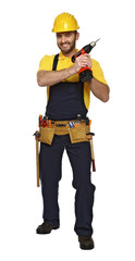caucasian handyman with red drill