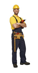 handyman with drill on white background