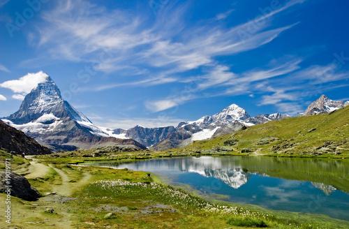 Leinwanddruck Bild Matterhorn Schweiz Riffelsee