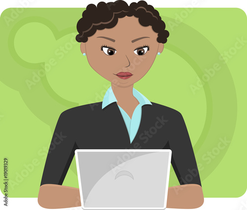 Young Woman Sitting at Laptop Computer
