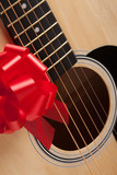 Guitar Strings with Red Ribbon poster