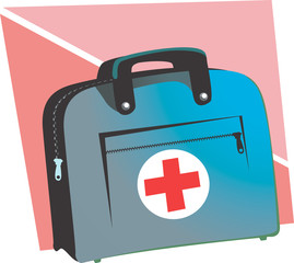 Illustration of doctor's bag and red cross symbol