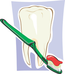 Illustration of tooth paste and tooth brush