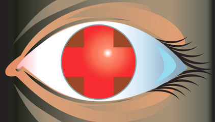 Illustration of eye with red cross in it