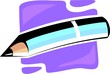 Illustration of pencil on top colourful plane