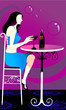 Silhouette of Lady sitting in a restaurant and drinking wine