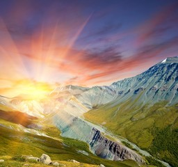 majestic sunset in a mountains
