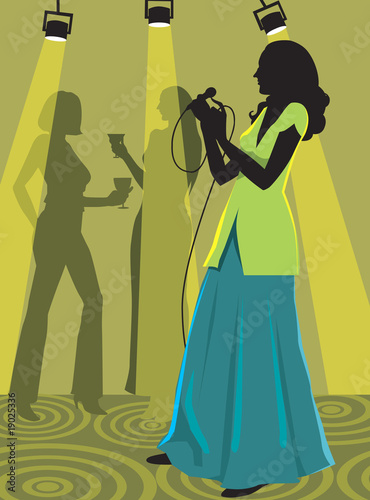 Silhouette of lady singing in a party