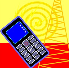 Illustration of a mobile phone and tower