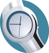 Illustration of silver wristwatch with white dial