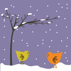 Birds couple under tree. Vector.