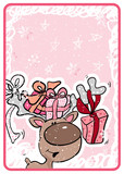 Fototapety greeting card with cute reindeer with gifts